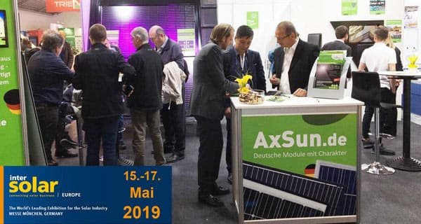 AxSun auf der Photovoltaik-Messe Intersolar 2019