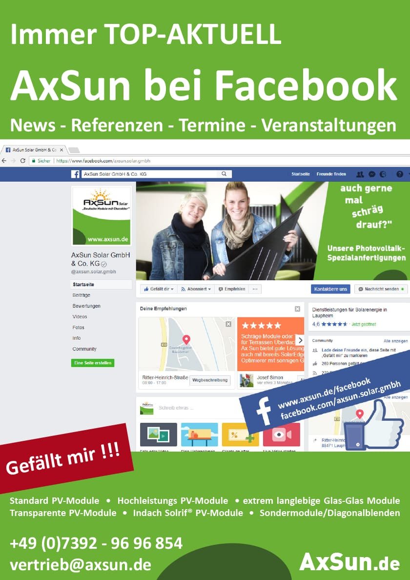 AxSun bei Facebook -> Like & share